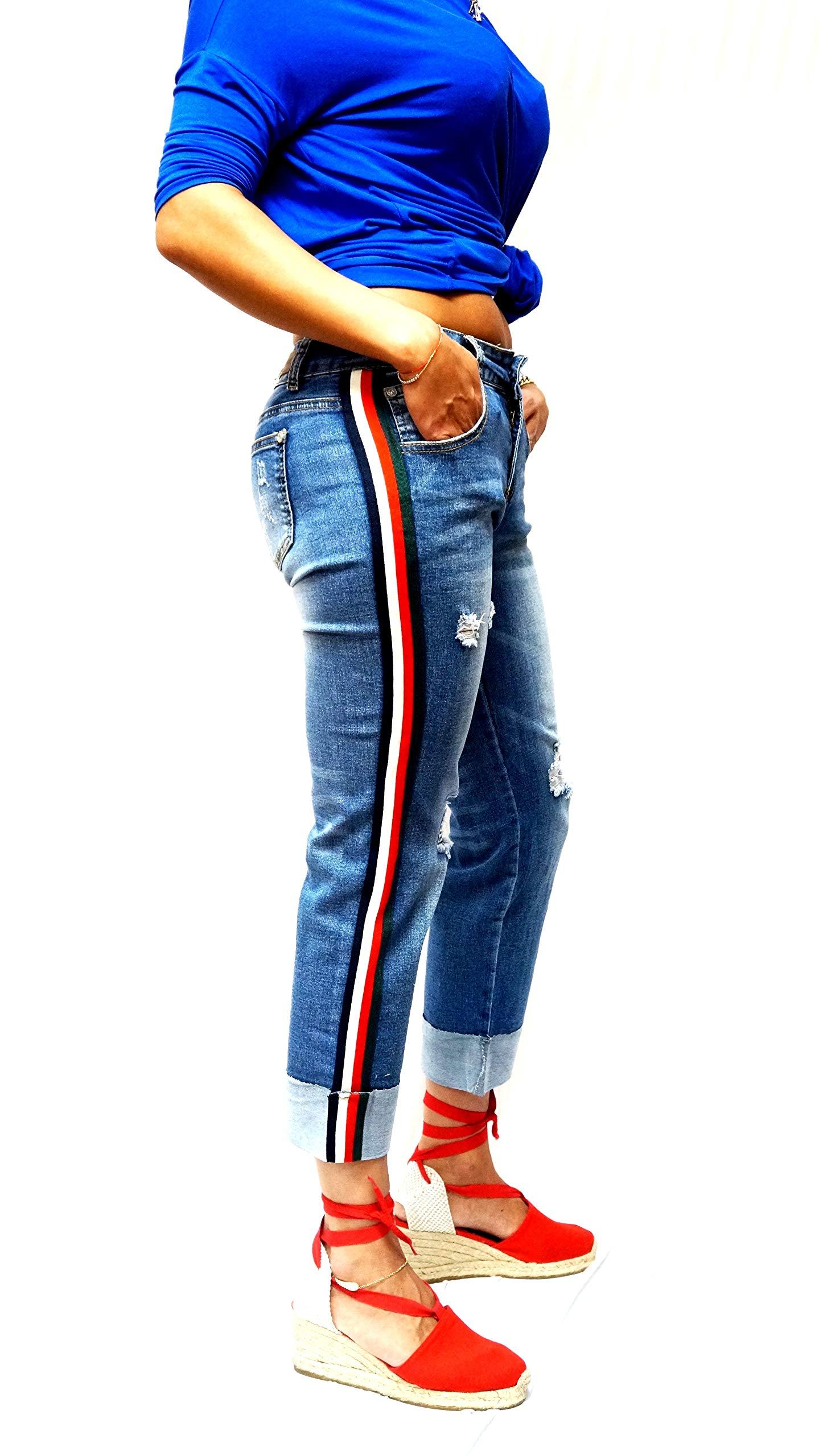 SS-Look Side Stripe Jeans Women Casual Ripped Distressed Boyfriend Jeans Pants Roll Cuff Loose Straight Wide Leg Denim Jeans Trousers (Blue C-A10553, 17)