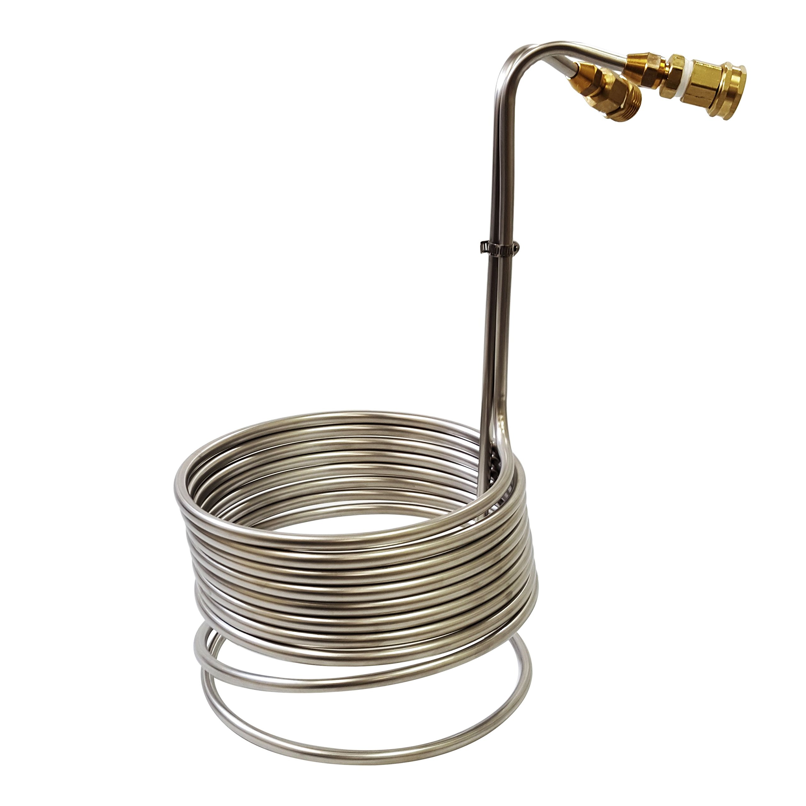 NY Brew Supply Super Efficient Stainless Steel Wort Chiller with Brass GH Fittings, 3/8'' x 2.5', Silver