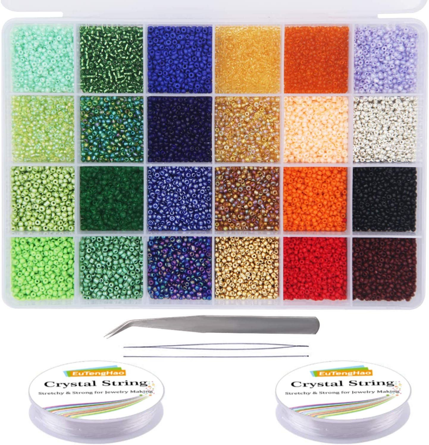 EuTengHao 14400pcs Glass Seed Beads Small Craft Beads for DIY Bracelet Necklaces Crafting Jewelry Making Supplies with Two 0.5mm Clear Bracelet String (600Pcs Per Color, 24 Colors)