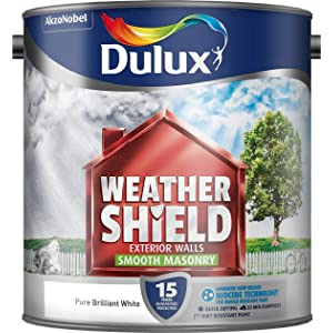 Dulux Weather Shield Smooth Masonry Paint, 2.5 L - White
