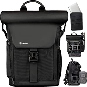 TARION Camera Backpack Canvas Camera Bag with Removable Laptop Compartment Waterproof Rain Cover Photography Backpack for DSLR SLR Mirrorless Cameras Video Camcorder Black