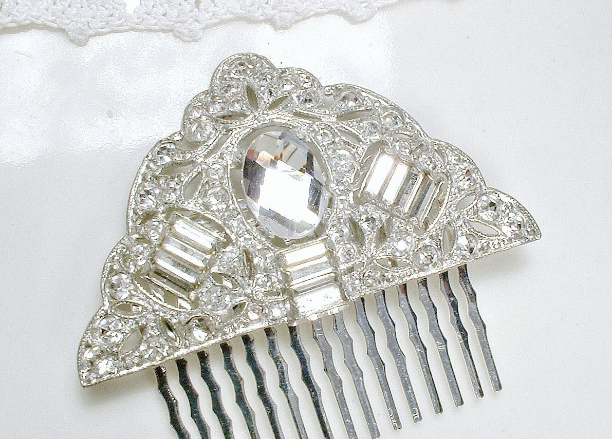 Antique Bridal Hair Comb, 1920s Art Deco Vintage Pave Rhinestone Flapper Fan Silver Dress Clip to Wedding Hair Accessory
