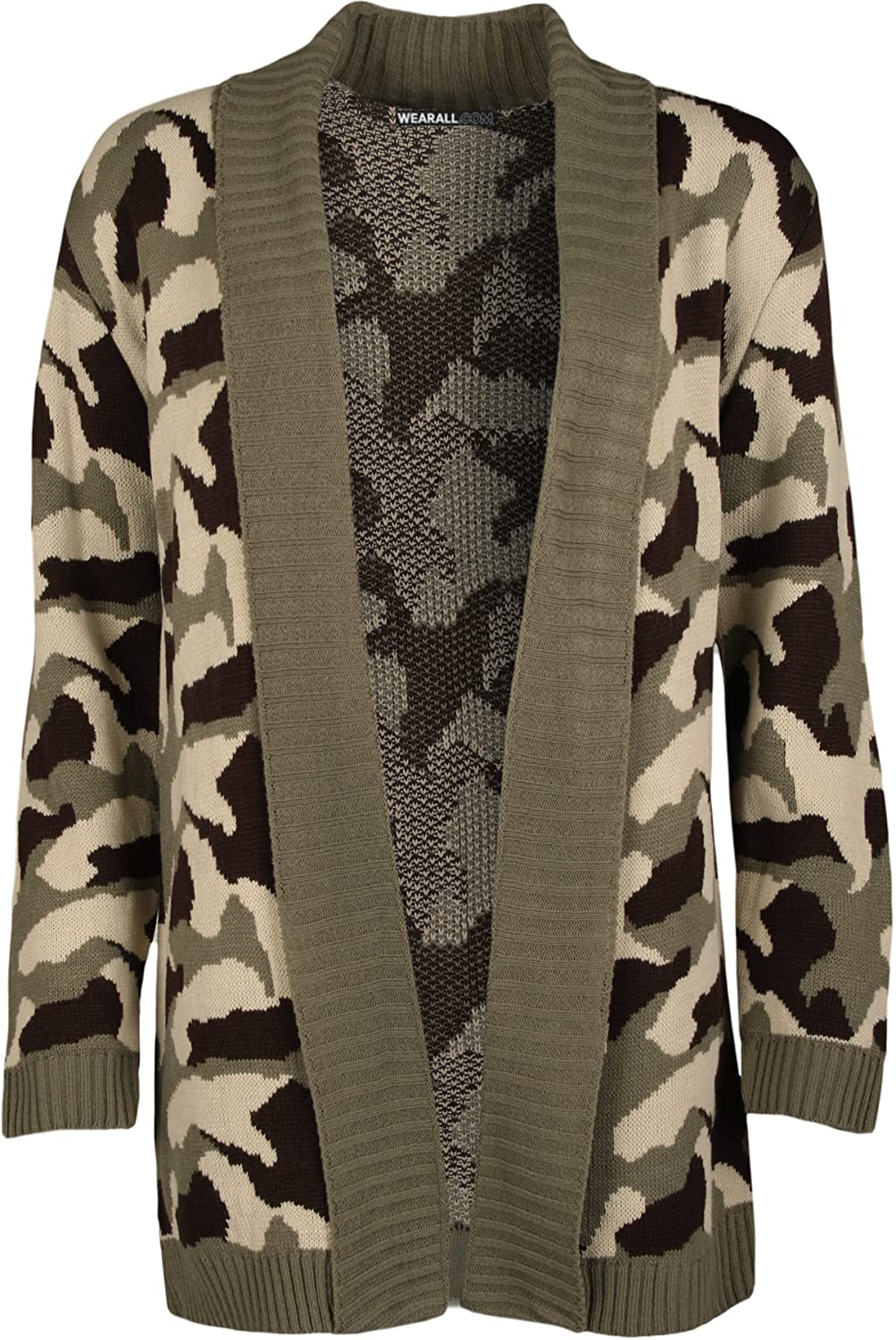 WearAll Womens Camouflage Pattern Long Sleeve Cardigan