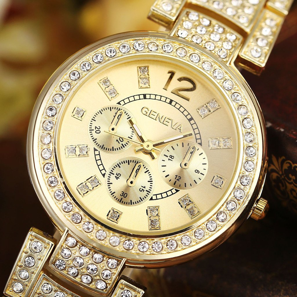 Top Plaza Women Luxury Fashion Gold Tone Bracelet Analog Watch Rhinestone Crystals Accented Metal Quartz Watch With Decorative Chronograph