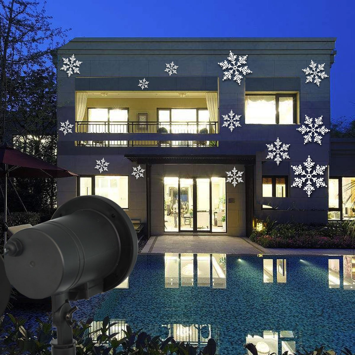 Wixure LED Snowflake Light LED Snowfall Rotating Projector Waterproof Outdoor with Power Supply Transformer &16.4ft Cable for Patio Garden Wedding Party