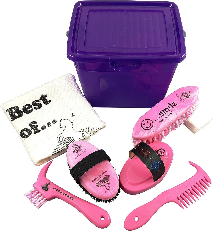 Markgraf Lila - Caja de Limpieza para niños con Accesorios para Caballos, Color Rosa