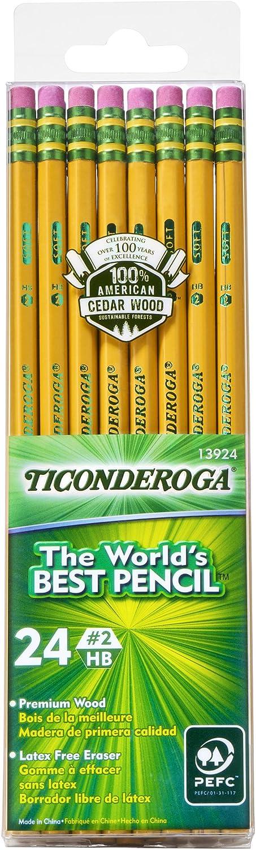 TICONDEROGA Pencils, Wood-Cased, Unsharpened, Graphite #2 HB Soft, Yellow, 24-Pack (13924)