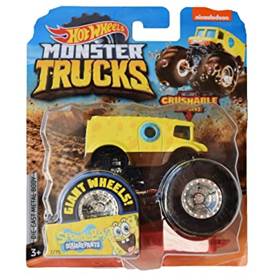 Hot Wheels Monster Trucks 1:64 Scale Spongebob Squarepants Crushable Car: Toys & Games