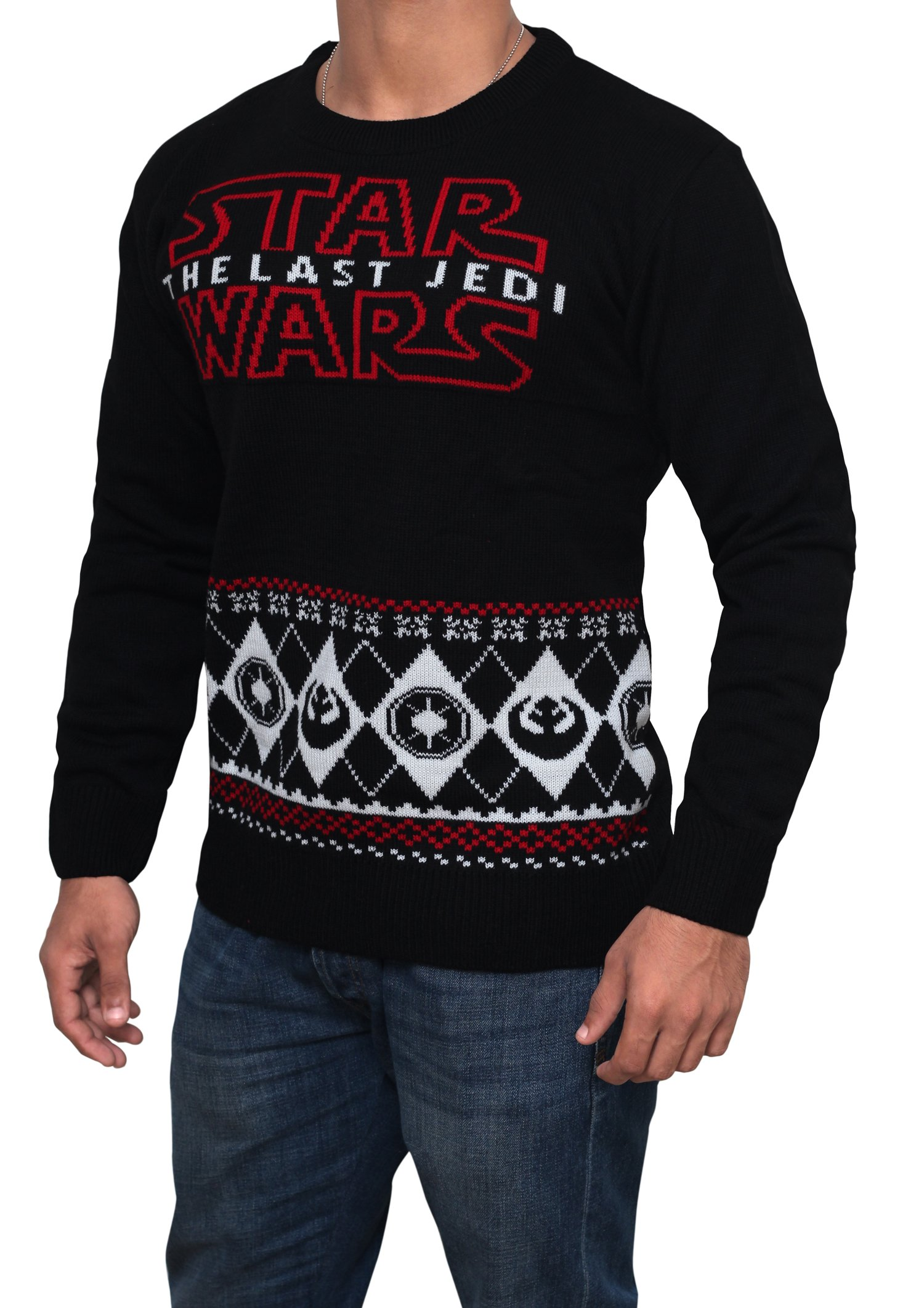 Star Wars Last Jedi Sweater - Star Wars Holiday Sweater by Miracle (Black, Large) by Miracle(Tm) (Image #2)