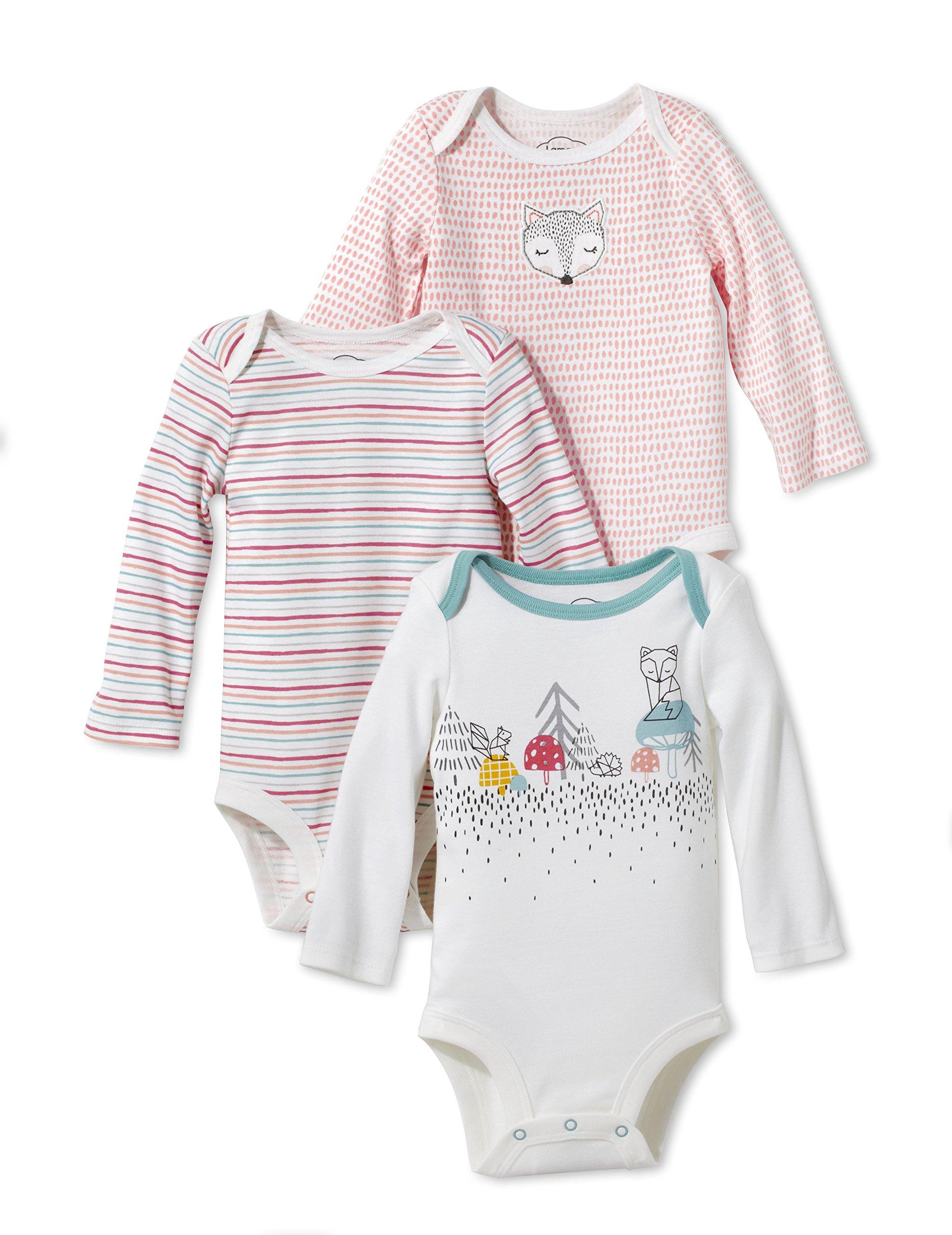 Lamaze Baby Organic 3 Pack Longsleeve Bodysuits, Coral, 18M