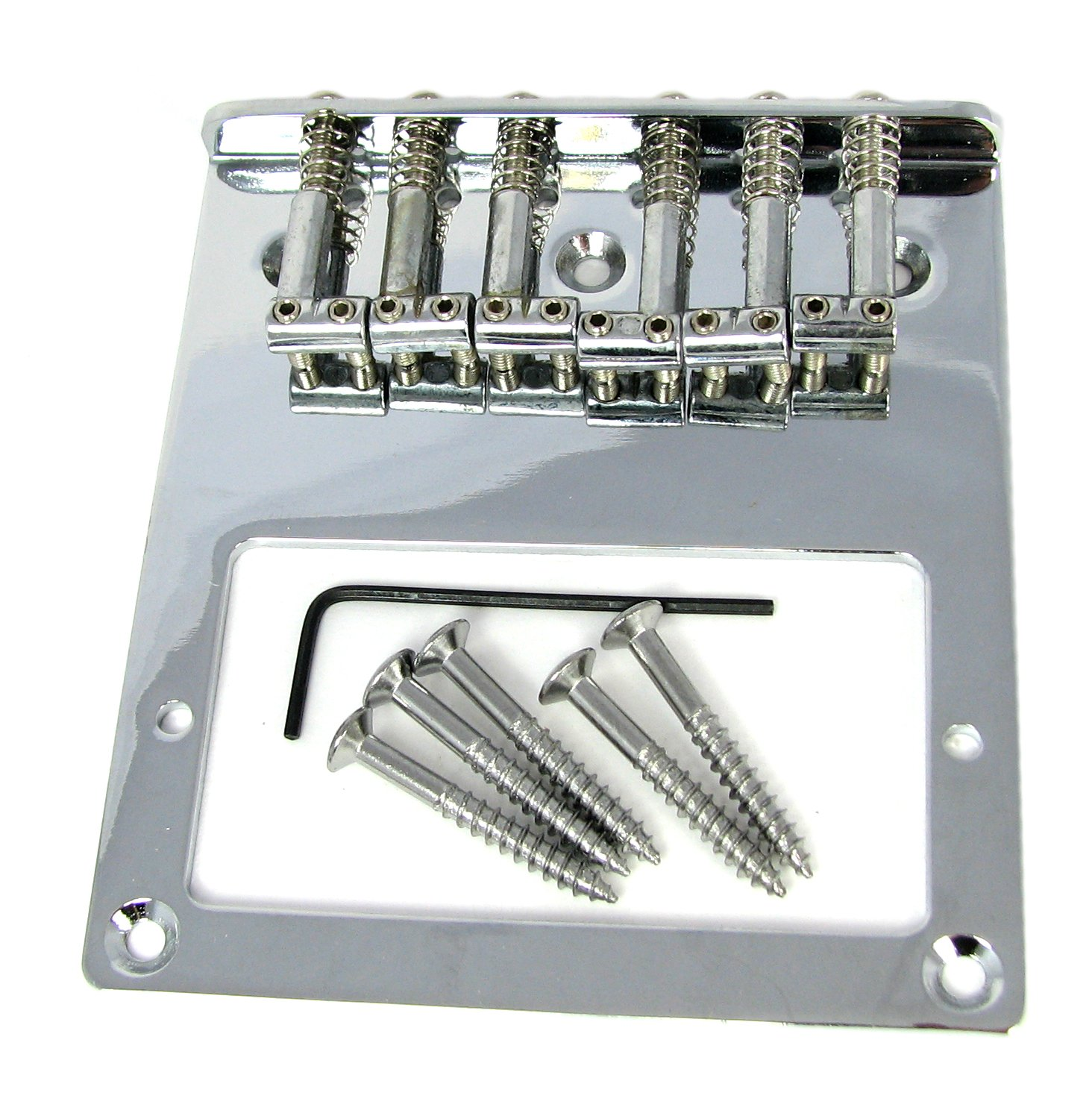 Telecaster(tm)-Style Top-Loading Chrome Electric Guitar Bridge Plate for Humbuckers C. B. Gitty Crafter Supply FBA_31-067-01