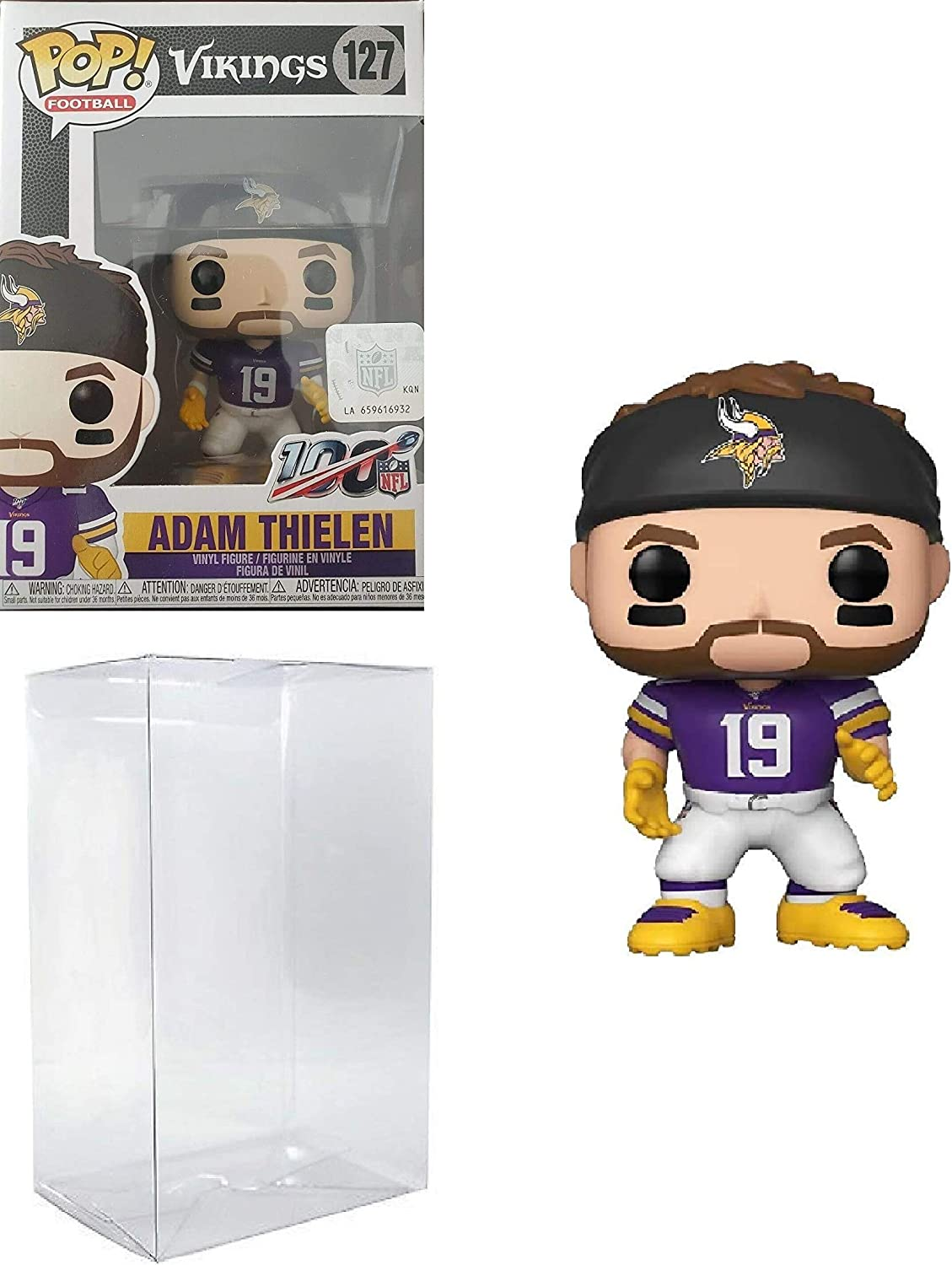 Pop NFL Adam Thielen Minnesota Vikings Home Jersey Vinyl Figure Bundled with Pop Shield Protector