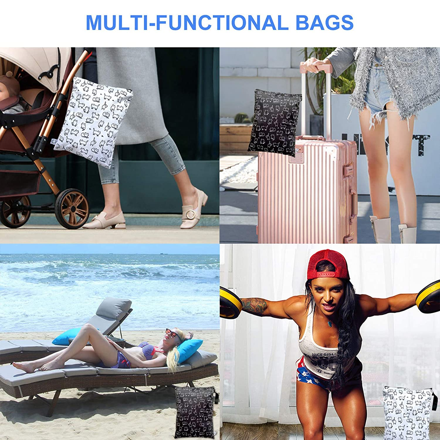 Beaches Large Capacity Dirty Sportswear 2 Pieces of 12.6X 16.5 Wet Swimwear FLOCK THREE Baby Diaper Wet Bag Waterproof and Reusable Travel Bag for Strollers