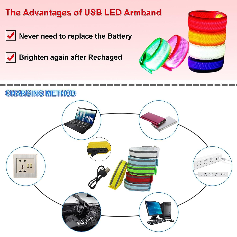 Lot de 2 USB LED rechargeable Brassard de sport LED clignotante Band  Bracelets de poignet Arm Wrap pour la lumière pour la course à pied  Cyclisme, ... 77d4b33d87a
