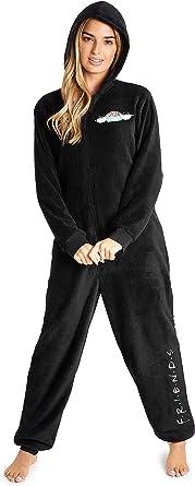 Friends TV - Pijama de forro polar, tipo mono, color negro ...