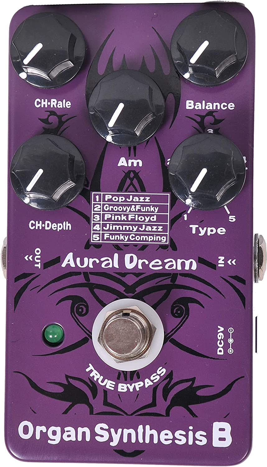 Aural Dream Organ Synthesis B Guitar Effects Pedal with POP Jazz,Groovy&Funky,Pink Floyd,Jimmy Jazz and Funky Comping organ effect including Rotary Speaker,Percussion and Chorus Module