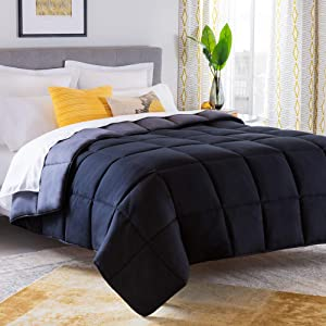 Linenspa All-Season Reversible Down Alternative Quilted Oversized Queen Comforter - Hypoallergenic - Plush Microfiber Fill - Machine Washable - Duvet Insert or Stand-Alone Comforter - Black/Graphite