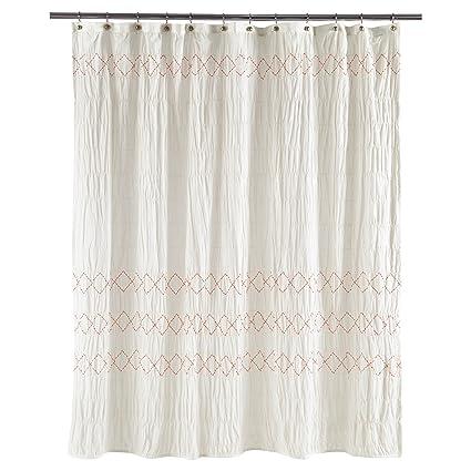 Amazon.com: Threshold Smocked Zig Zag Shower Curtain, WHITE, 72\