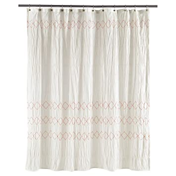 Threshold Smocked Zig Zag Shower Curtain, WHITE, 72u0026quot; ...