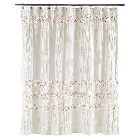 Threshold Smocked Zig Zag Shower Curtain, WHITE, 72u0026quot; ...