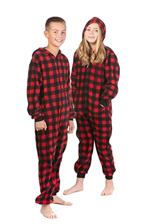 9a10431a45 Hoodie Onesie Jumpsuit Pajama in Buffalo Plaid Fleece for Boys   Girls Red