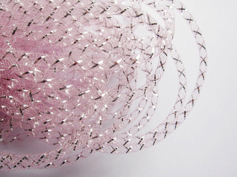 YYCRAF One Roll Tubo de malla sólida Deco Flex para coronas Cyberlox CRIN Crafts 4 mm (rosa)