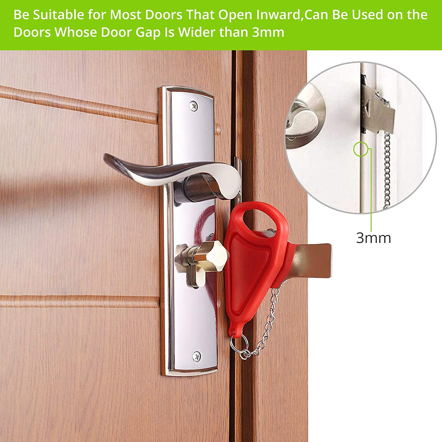 LiNKFOR Portable Door Lock 2PCS Travel Lock with Storage Bag Stainless Iron and PP 3cm Tongue Additional Safety and Privacy Lock Security Personal Protection for Traveling Home Apartment Living Hotel