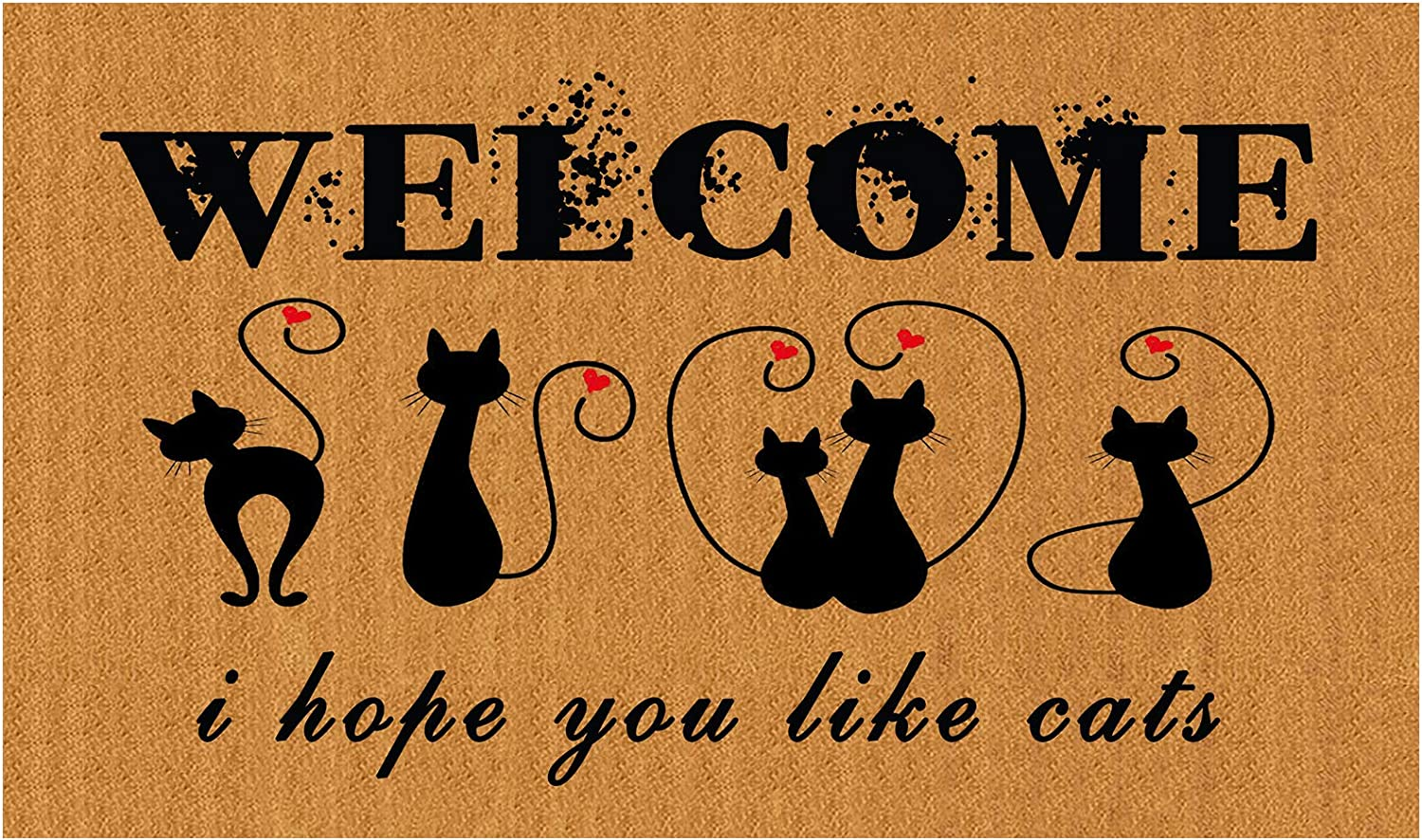 """genaric Welcome Doormat(29.5"""" x 17.7"""") Non-Slip mat Funny mat Personalized Home Decor mats for in Door Kitchen Entrance Rugs and Mats (Welcome i Hope You Like Cats)"""