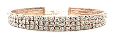 Amazoncom Rose Gold Rhinestone Choker 3 Row Womens Crystal
