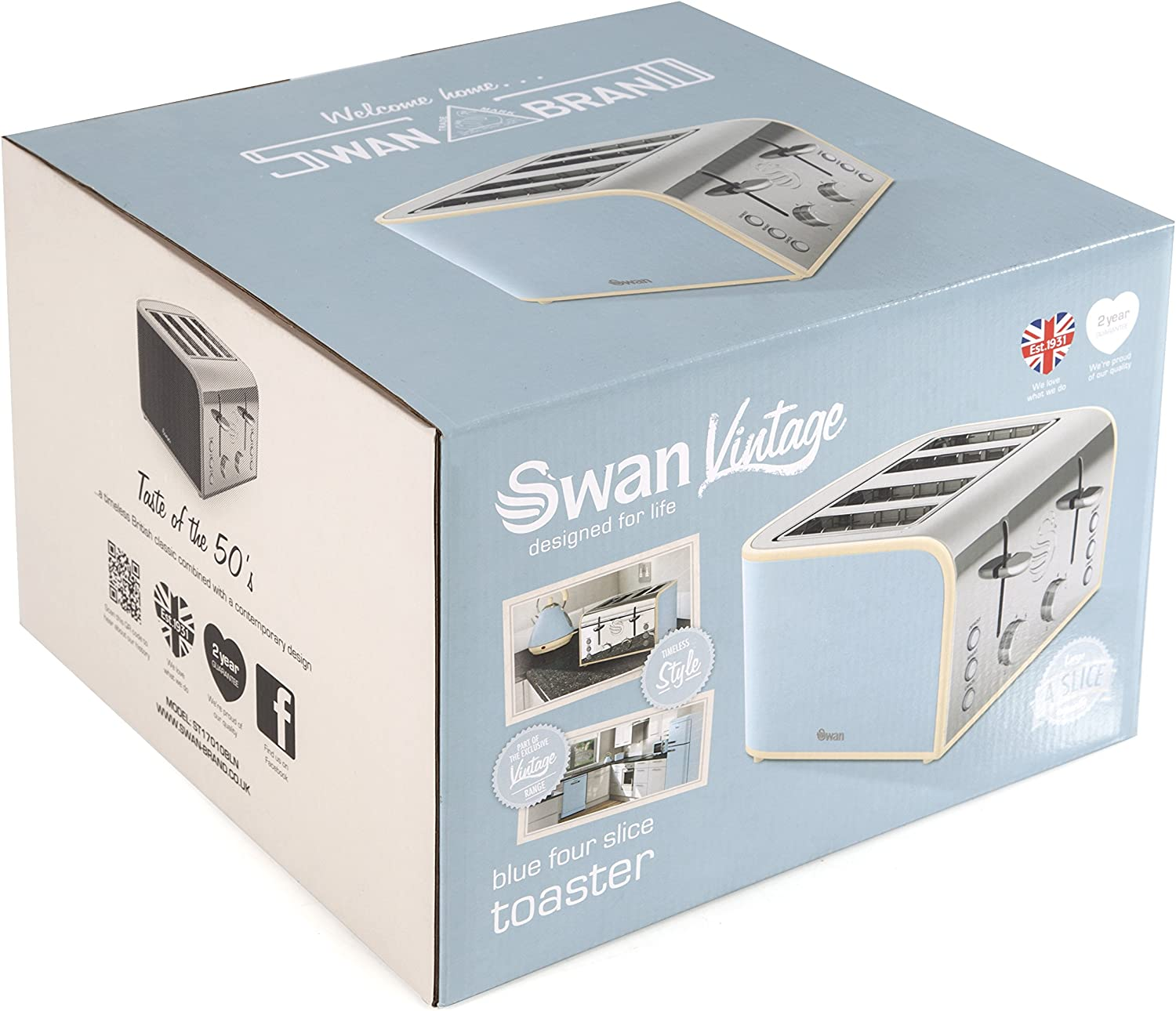 Duck Egg Blue Swan 4-Slice Retro Toaster, 1600 Watt