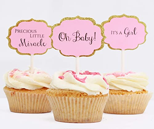 Pink and Gold Cupcake Toppers