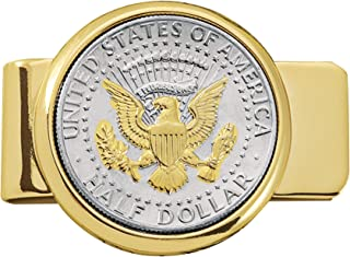 product image for Coin Money Clip - Presidential Seal JFK Half Dollar Selectively Layered in Pure 24k Gold | Brass Moneyclip Layered in Pure 24k Gold | Holds Currency, Credit Cards, Cash | Genuine U.S. Coin