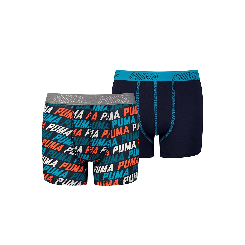 PUMA 2-Pack Repeat Logo Print Boys Boxer Briefs, Blue