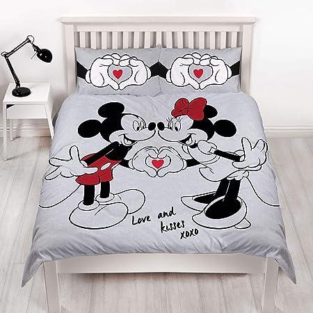 Copripiumino Minnie E Topolino Matrimoniale.Disney Copripiumino Matrimoniale Reversibile Grigio Su Entrambi