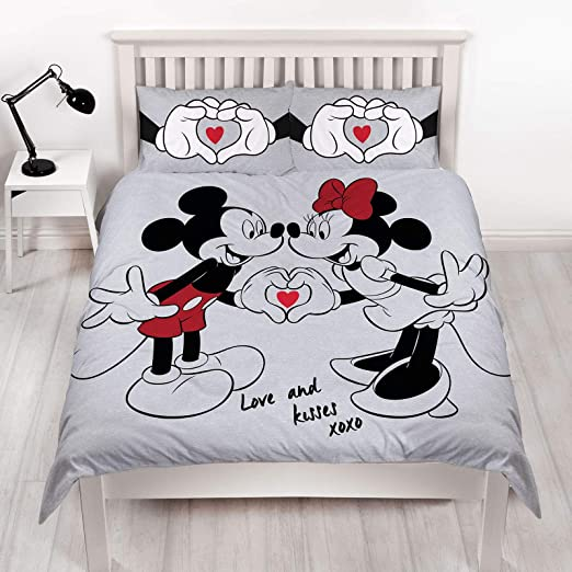 Piumino Matrimoniale Topolino E Minnie.Disney Copripiumino Matrimoniale Reversibile Grigio Su Entrambi