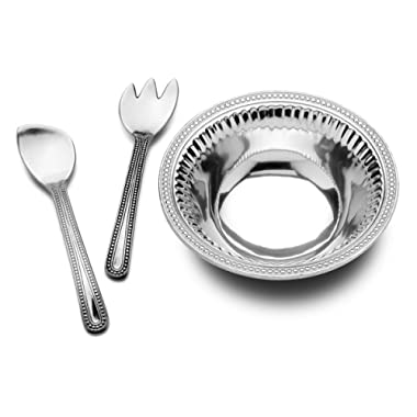 Wilton Armetale Flutes and Pearls Large 3-Piece Salad Set, 5.5-Quart