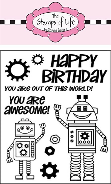3 by 10 Stampers Anonymous MB-26 Tim Holtz Mini Blueprints Strip Cling Rubber Stamps Robot