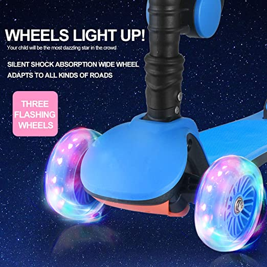 AOODIL Kick Scooters for Kids 2-in-1 Adjustable 3 Wheel Scooters for Kids Toddlers Girls & Boys with Folding Seat-Kids Scooter with PU Flashing Wheels ...