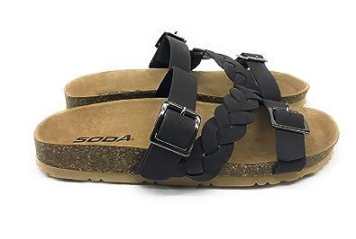 46ed34f74c916 SODA Women s Buckle Strap Braided Cork Platform Slip On Sandal (6.5 B(M)