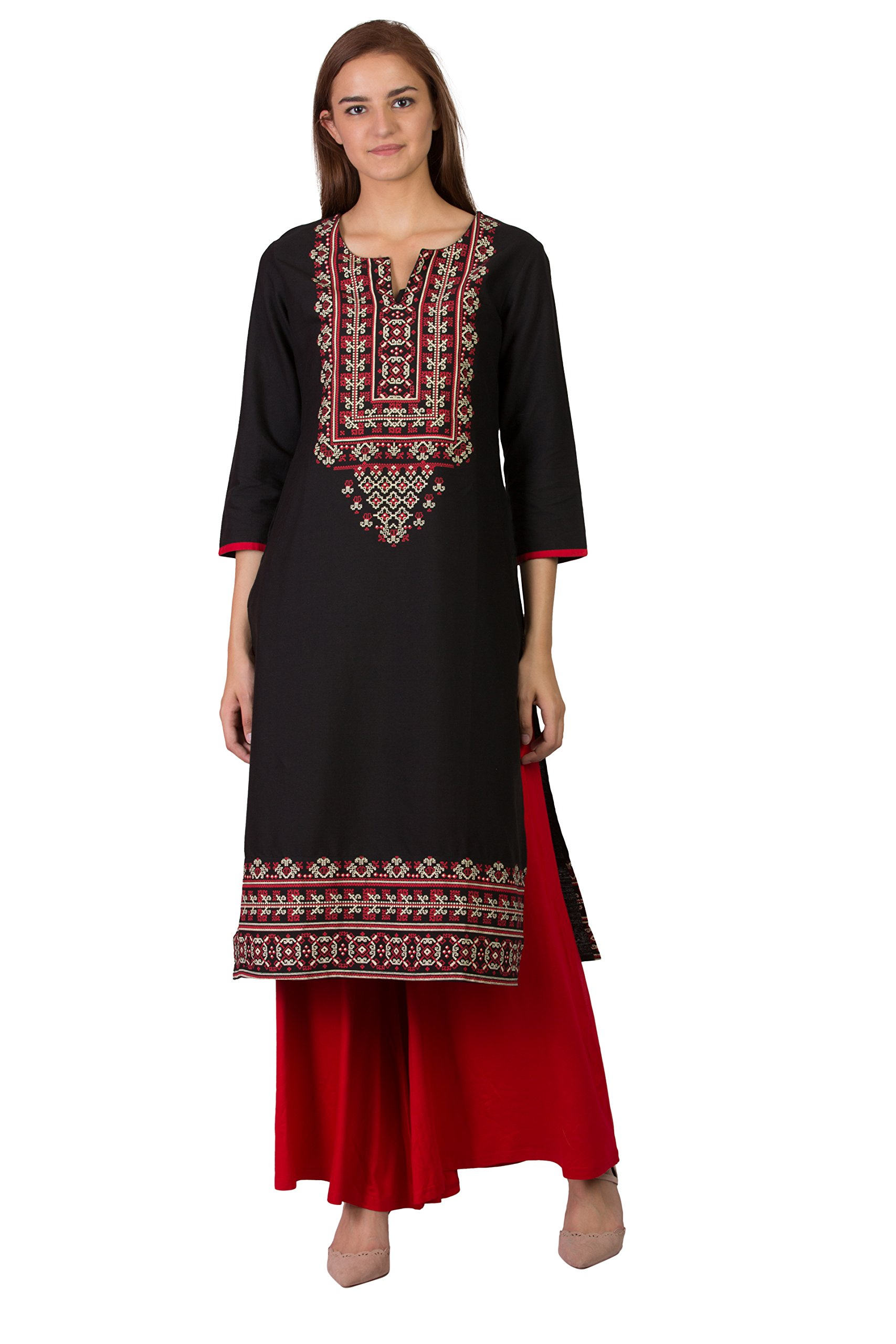 SABHYATA Women's Kurta Tunic Partywear Dress Black Kurti Tops for Women