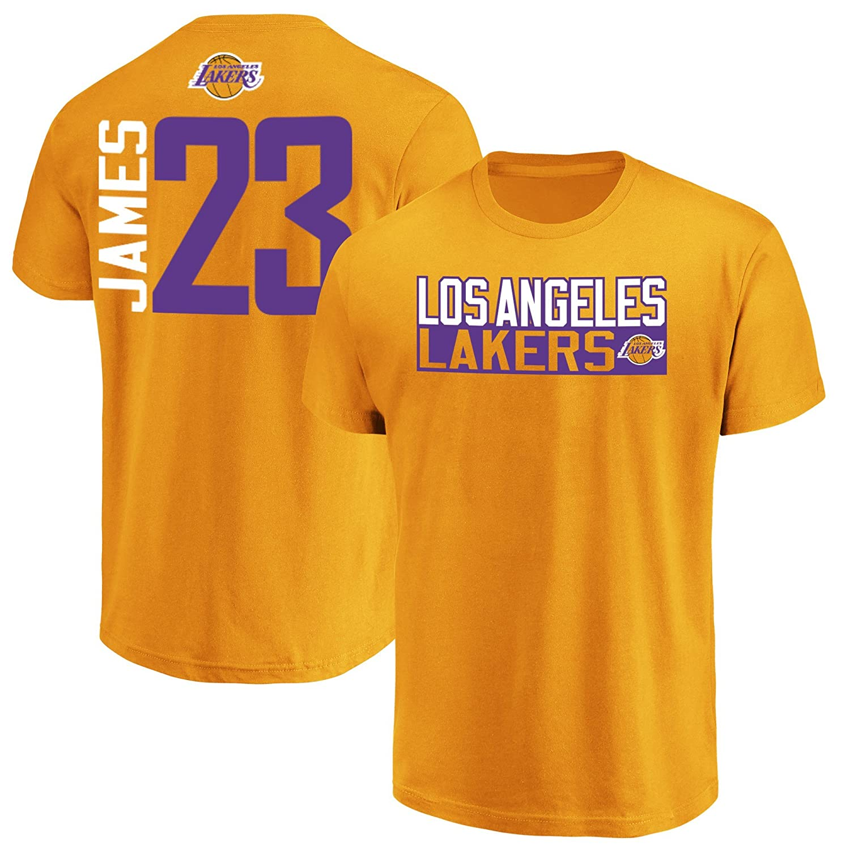 a0c6014159f Amazon.com   Majestic Lebron James Los Angeles Lakers  23 Men s Vertical  Player T-Shirt   Sports   Outdoors
