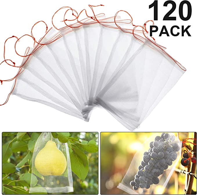 100 Pcs Birds Insect Garden Nylon Net Bags W//Drawstring Plant Fruit Protection