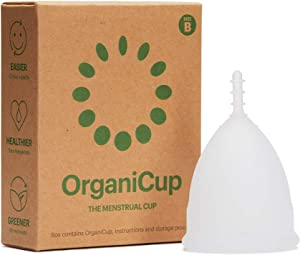 OrganiCup Menstrual Cup - Size B/Large - Soft, Flexible, Reusable Medical-Grade Silicone - Not Offered in California