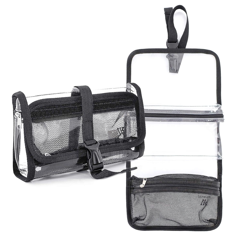 Travel Toiletry Bag, Zenwow Clear PVC Cosmetic Makeup Organizer Bags for Men & Women (Grey)