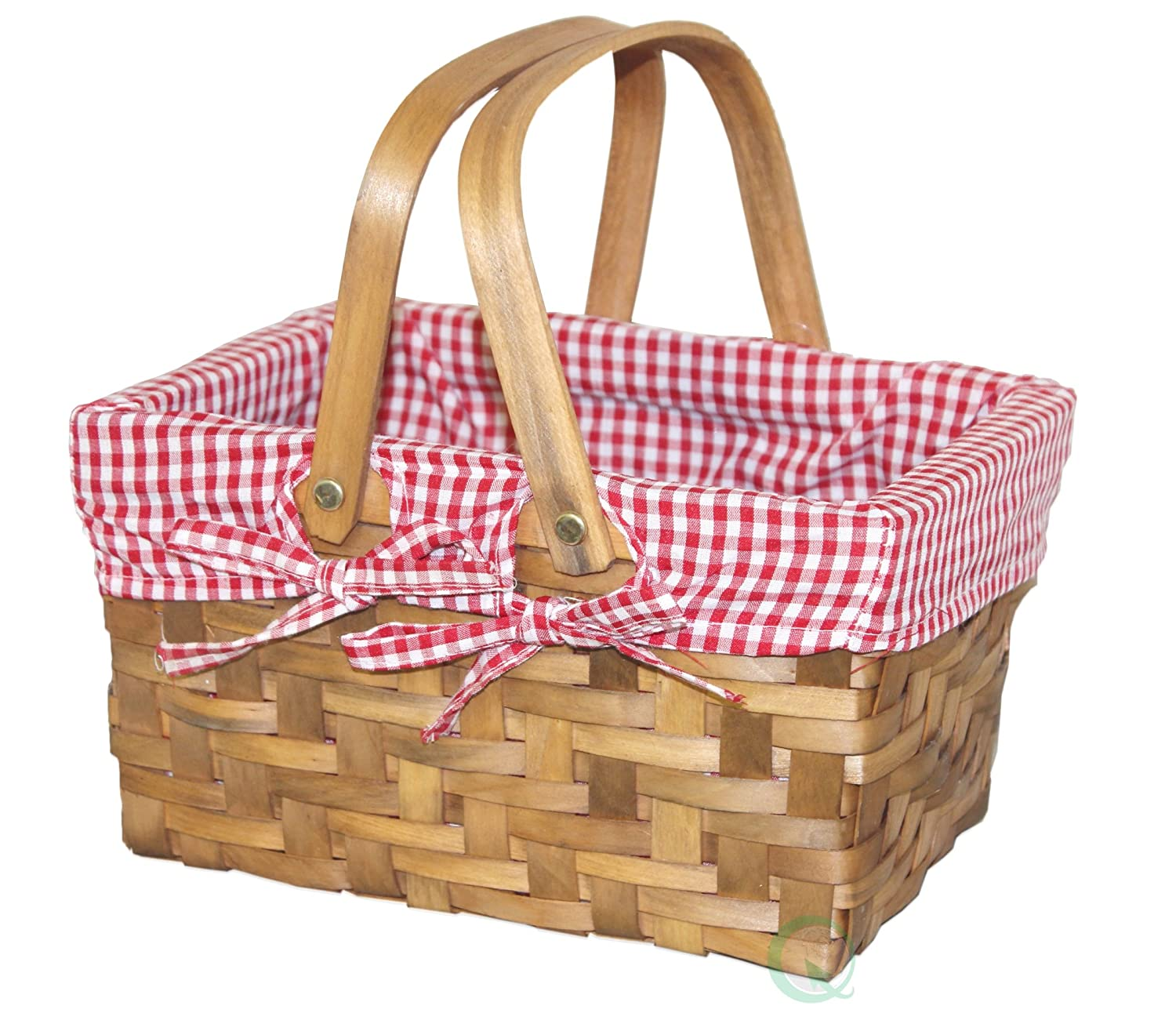 Vintiquewise Rectangular Basket Lined with Gingham Lining, Small Quickway Imports QI003085