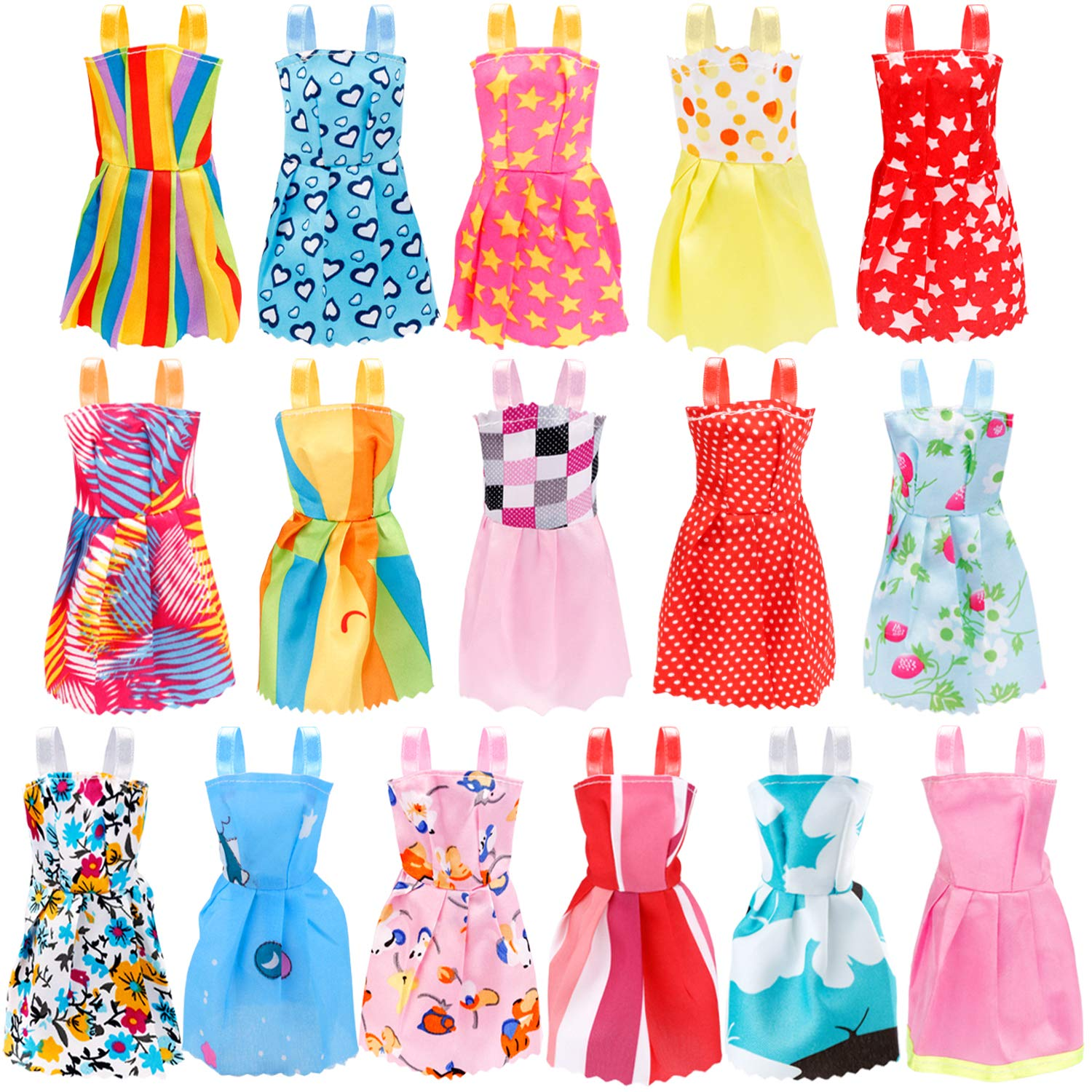 Included 18Pcs Wedding Party Outfits Clothes and 55Pcs Doll Accessories Shoes Bags Necklace Girls Gifts JANYUN 73Pcs Dolls Fashion Set for Dressing up Barbie Dolls