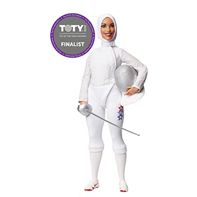 ​Ibtihaj Muhammad Barbie Doll with Fencing Uniform, Hijab, Sabre and Mask: Toys & Games