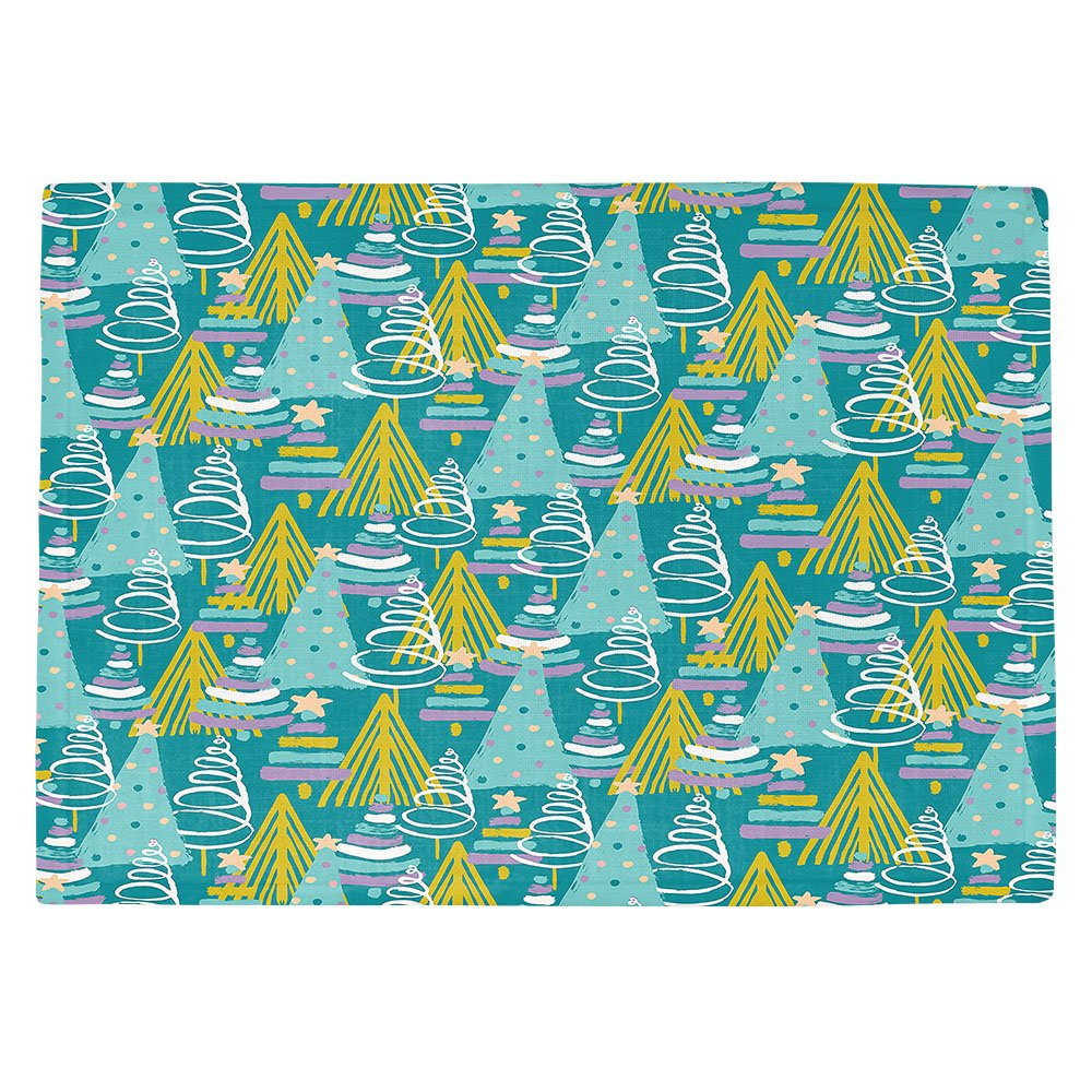 DIANOCHEキッチンPlaceマットby Artist Metka Hiti – クリスマスツリーTealピンク Set of 2 Placemats PM-MetkaHitiChristmasTreeTealPink1 Set of 2 Placemats  B01N8OZX30