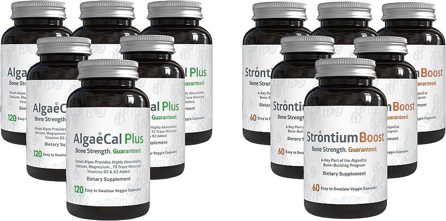 AlgaeCal Bone Builder Pack – Plant-Based Calcium Supplement with Magnesium, Boron, Vitamin K2 + D3 | Includes Strontium Boost | Naturally Increase Bone Density (6 Month Supply)
