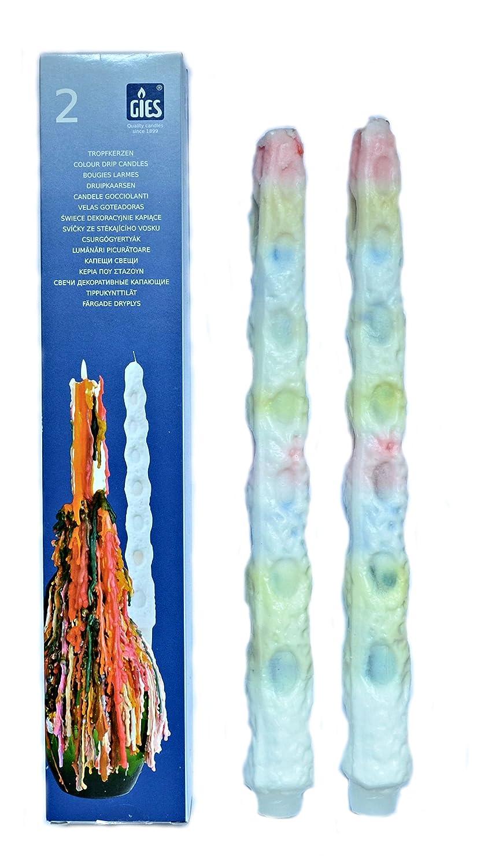 Gies Lot de 30 bougies dé goulinantes multicolores (15 paquets de 2 bougies)